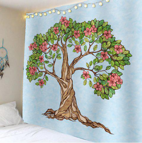 Discount Tree of Life Floral Waterproof Wall Art Tapestry - W59 INCH * L51 INCH LIGHT BLUE Mobile