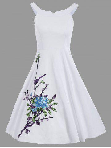 New Floral Embroidery Spaghetti Strap A Line Dress - 2XL WHITE Mobile