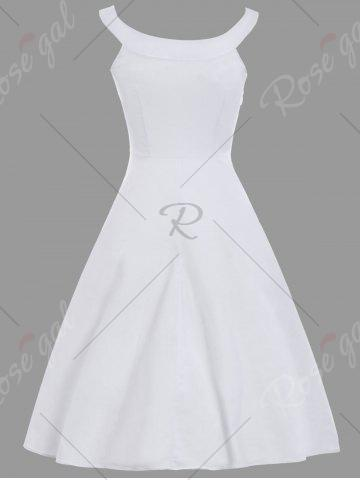 Affordable Floral Embroidery Spaghetti Strap A Line Dress - XL WHITE Mobile