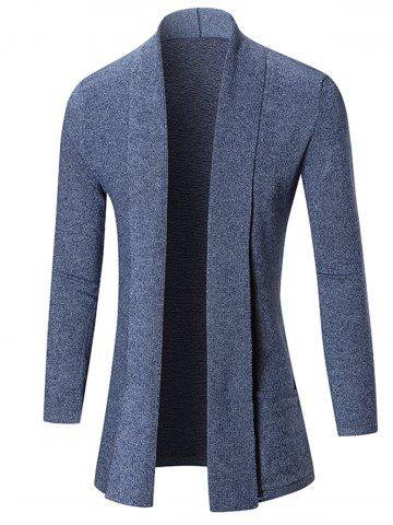 Discount Open Front Shawl Collar Heathered Cardigan BLUE 2XL