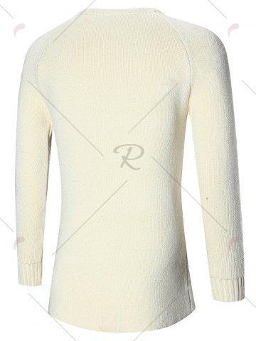 Affordable Raglan Sleeve Open Front Plain Cardigan - L OFF-WHITE Mobile