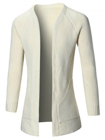 Discount Raglan Sleeve Open Front Plain Cardigan - L OFF-WHITE Mobile