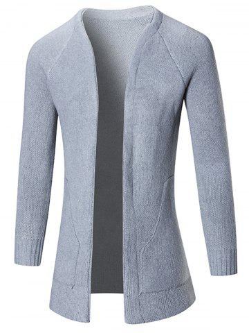 Online Raglan Sleeve Open Front Plain Cardigan - L GRAY Mobile