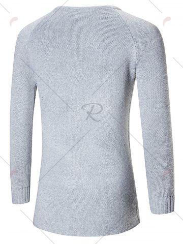 Sale Raglan Sleeve Open Front Plain Cardigan - M GRAY Mobile