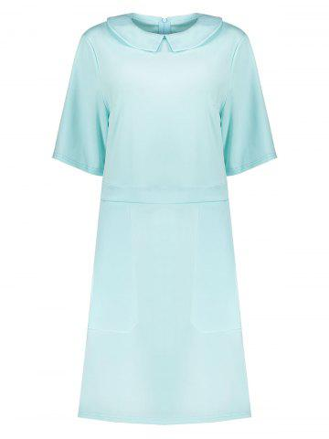Buy Collared Plus Size A Line Dress with Pockets LIGHT BLUE 2XL