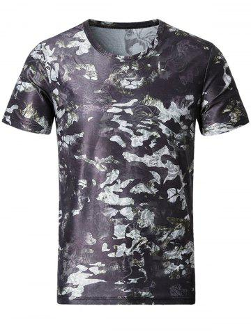 Fashion Short Sleeve Tiger Print Camouflage Tee COLORMIX XL