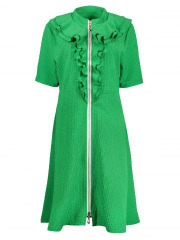 Outfit Ruffle Front Zip Plus Size Skater Dress GREEN 6XL