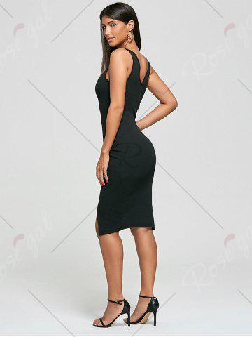 Sale Cut Out Bodycon Ribbed Tank Dress - ONE SIZE BLACK Mobile