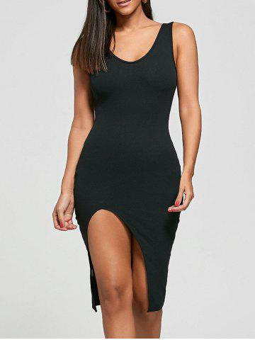 Fashion Cut Out Bodycon Ribbed Tank Dress - ONE SIZE BLACK Mobile