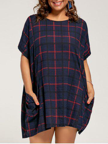 Store Checked Plus Size Casual Baggy Dress  with Pockets