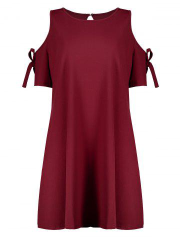 Chic Plus Size  Open Shoulder Self Tie Skater Dress WINE RED 3XL