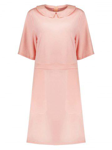 Online Collared Plus Size A Line Dress with Pockets PINK 2XL