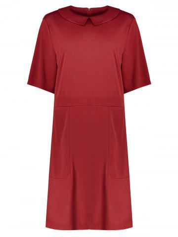 Cheap Collared Plus Size A Line Dress with Pockets RED 6XL