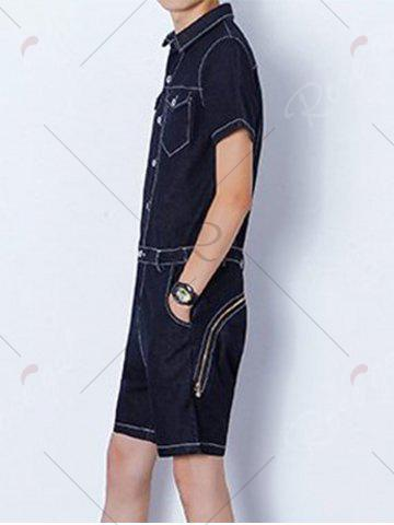 New Half Button Up Back Zip Denim Romper - M BLACK Mobile