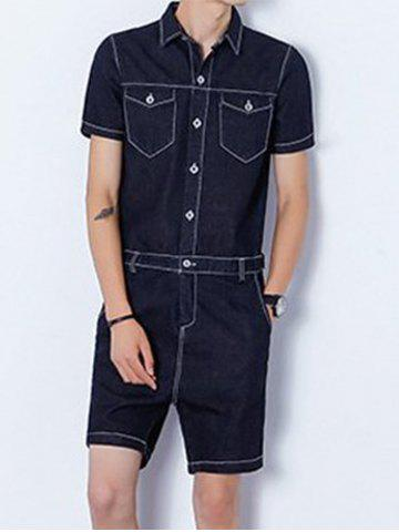 Trendy Half Button Up Back Zip Denim Romper BLACK L