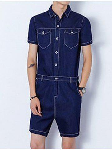 Fancy Half Button Up Back Zip Denim Romper DEEP BLUE XL