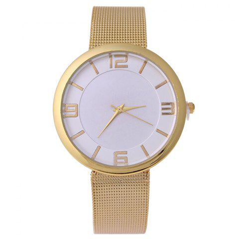 Trendy Mesh Alloy Band Number Analog Watch GOLDEN