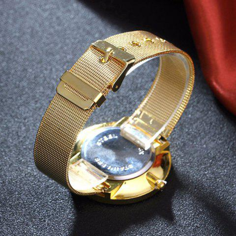Unique Mesh Alloy Band Number Analog Watch - GOLDEN  Mobile