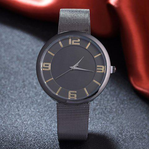 Online Mesh Alloy Band Number Analog Watch - BLACK  Mobile