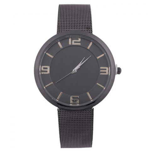 Unique Mesh Alloy Band Number Analog Watch BLACK