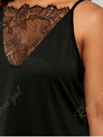 Unique Plus Size Eyelash Lace Spaghetti Strap Tank Top - 4XL BLACK Mobile