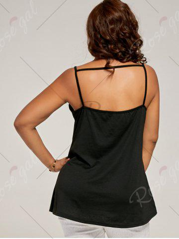 Buy Plus Size Eyelash Lace Spaghetti Strap Tank Top - 4XL BLACK Mobile