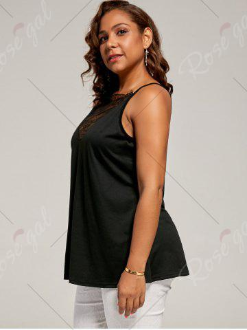 Latest Plus Size Eyelash Lace Spaghetti Strap Tank Top - 4XL BLACK Mobile