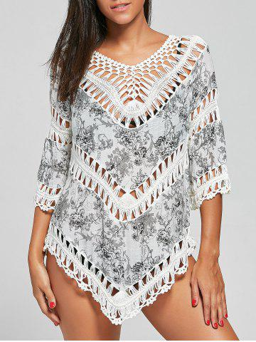 Online Crochet Insert Tunic Floral Cover-Up