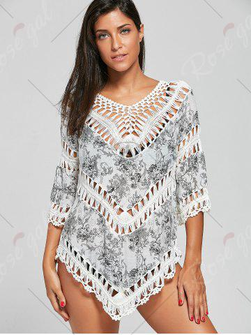 Discount Crochet Insert Tunic Floral Cover-Up - ONE SIZE COLORMIX Mobile