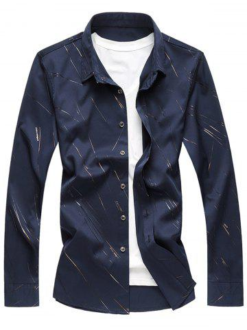 Best Button Up Long Sleeve Casual Shirt CADETBLUE XL