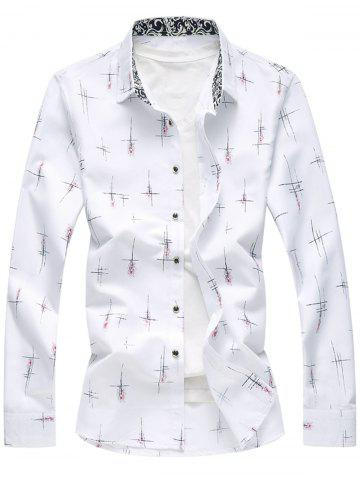 Latest Crisscross Printed Long Sleeve Shirt WHITE 5XL