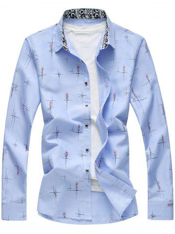 Unique Crisscross Printed Long Sleeve Shirt LIGHT BLUE 5XL