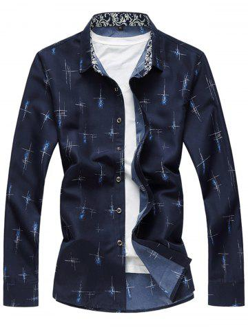 Shop Crisscross Printed Long Sleeve Shirt CADETBLUE XL