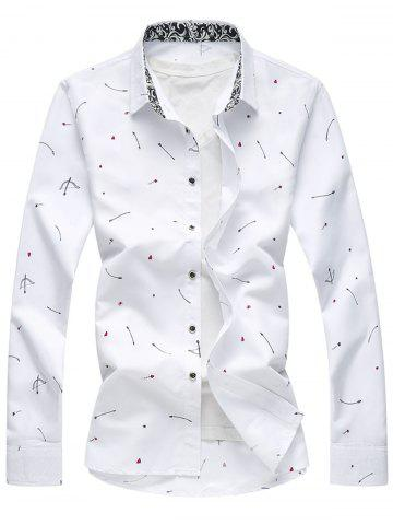 Trendy Arrow Print Button Long Sleeve Shirt WHITE 2XL