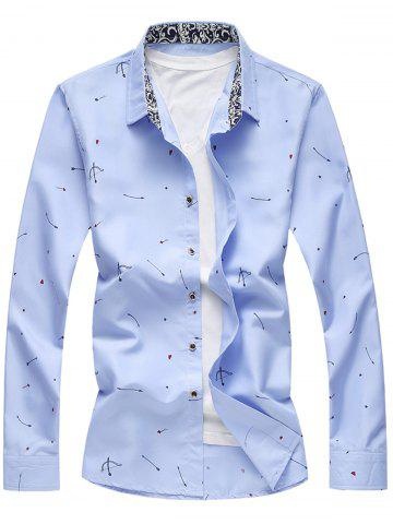 Latest Arrow Print Button Long Sleeve Shirt LIGHT BLUE 2XL