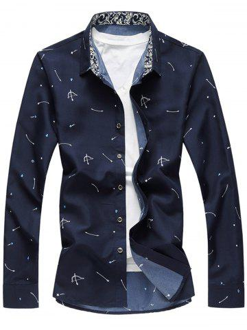 Hot Arrow Print Button Long Sleeve Shirt CADETBLUE 3XL