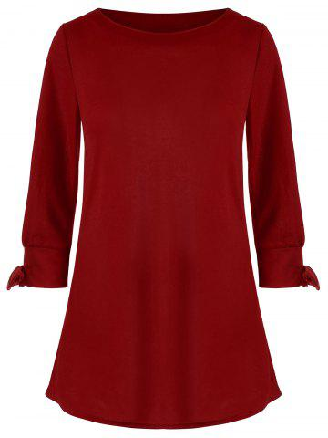 Sale Bowknot Long Sleeve Dress - S RED Mobile