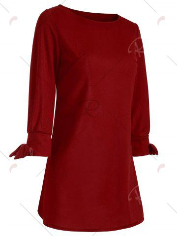Online Bowknot Long Sleeve Dress - S RED Mobile
