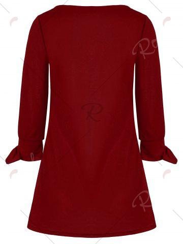 Cheap Bowknot Long Sleeve Dress - 2XL RED Mobile