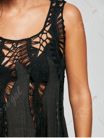 Trendy Handkerchief Crochet Tunic Cover Up - ONE SIZE BLACK Mobile