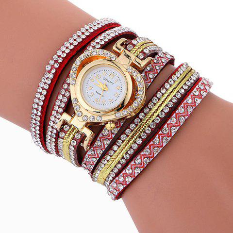 Hot Rhinestoned Faux Leather Heart Bracelet Watch - RED  Mobile