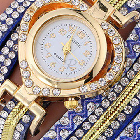 Online Rhinestoned Faux Leather Heart Bracelet Watch - BLUE  Mobile