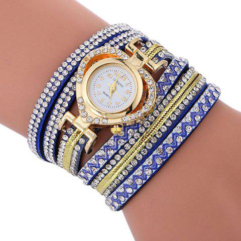Outfit Rhinestoned Faux Leather Heart Bracelet Watch - BLUE  Mobile