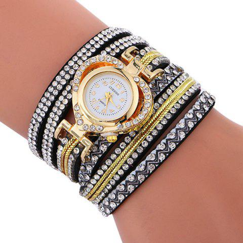 Trendy Rhinestoned Faux Leather Heart Bracelet Watch - BLACK  Mobile