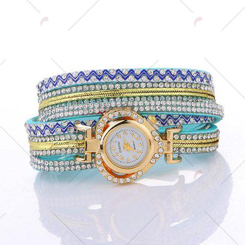 Outfit Rhinestoned Faux Leather Heart Bracelet Watch - LAKE BLUE  Mobile