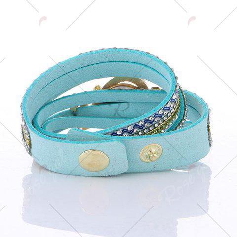Chic Rhinestoned Faux Leather Heart Bracelet Watch - LAKE BLUE  Mobile