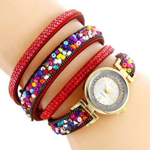 Best Rhinestone Beaded Faux Leather Quartz Bracelet Watch - RED  Mobile