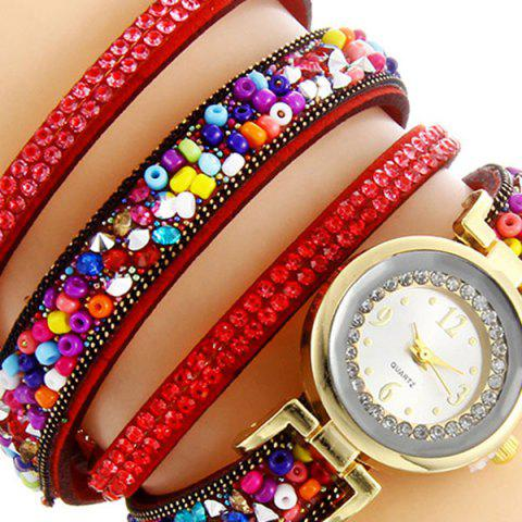 Cheap Rhinestone Beaded Faux Leather Quartz Bracelet Watch - RED  Mobile