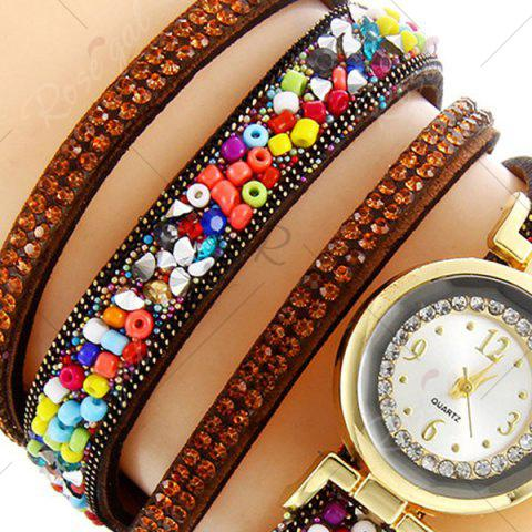 Outfits Rhinestone Beaded Faux Leather Quartz Bracelet Watch - BROWN  Mobile
