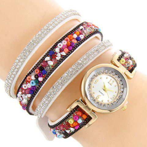 Trendy Rhinestone Beaded Faux Leather Quartz Bracelet Watch - WHITE  Mobile